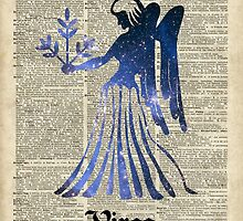 Zodiac Sign Virgo Maiden,Space Stencil Over Old Book Page,Vintage Mixed Media Collage by DictionaryArt