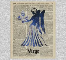 Zodiac Sign Virgo Maiden,Space Stencil Over Old Book Page,Vintage Mixed Media Collage Kids Tee