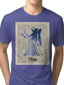Zodiac Sign Virgo Maiden,Space Stencil Over Old Book Page,Vintage Mixed Media Collage Tri-blend T-Shirt