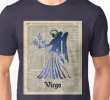 Zodiac Sign Virgo Maiden,Space Stencil Over Old Book Page,Vintage Mixed Media Collage Unisex T-Shirt