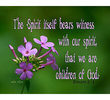 Witness with our spirit ~ Romans 8:16 Photographic Print