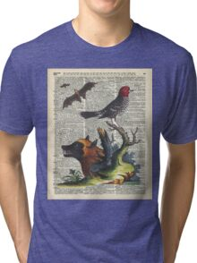 Animals Zoology old illustration over a Old Dictionary Page,Forest,Nature Tri-blend T-Shirt