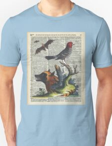 Animals Zoology old illustration over a Old Dictionary Page,Forest,Nature T-Shirt