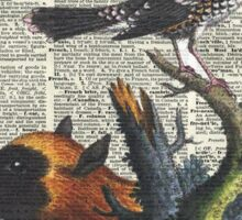 Animals Zoology old illustration over a Old Dictionary Page,Forest,Nature Sticker