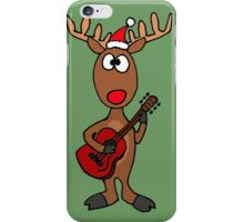 Cool Rudolph the Red Nosed Reindeer Playing Red Guitar iPhone Case/Skin