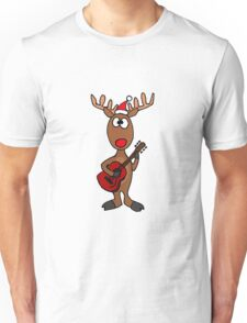 Cool Rudolph the Red Nosed Reindeer Playing Red Guitar Unisex T-Shirt