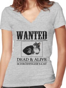 Wanted dead and alive schrodinger's cat Women's Fitted V-Neck T-Shirt