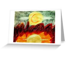 A crater lake reflection, watercolor Greeting Card