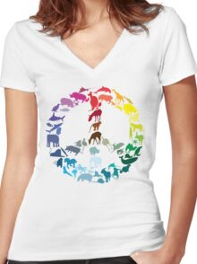 Animals of Peace Women's Fitted V-Neck T-Shirt