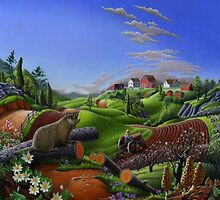 Farm Folk Art - Groundhog Spring Appalachia Landscape by Walt Curlee