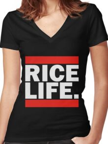 RICE LIFE Women's Fitted V-Neck T-Shirt