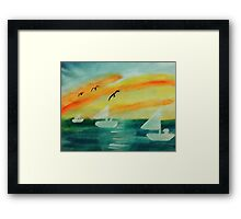 Soothing sunset, watercolor Framed Print