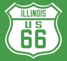 Route 66 Illinois Road Sign Kids Tee