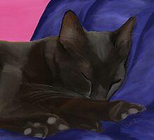Black Cat Sleeping by Sarahbob
