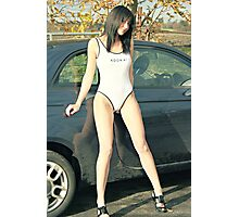 White Swimsuit and Car Photographic Print