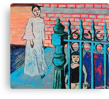 Woman and child with fence Canvas Print