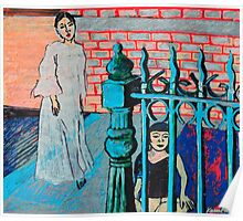 Woman and child with fence Poster