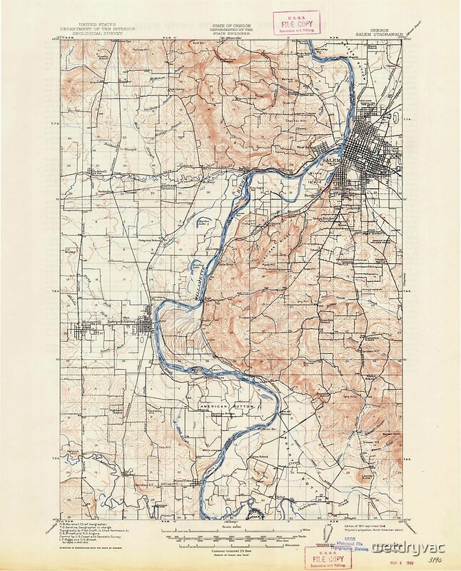 USGS Topo Map Oregon Salem 282862 1917 62500 Posters by wetdryvac