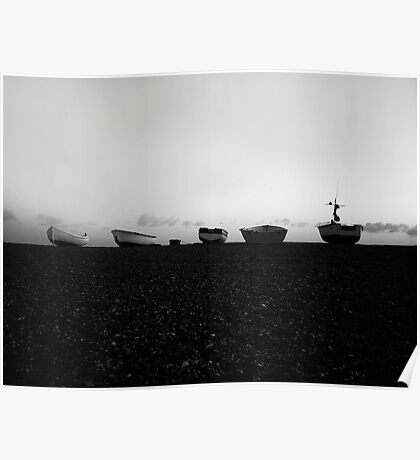 Boats at Sunrise - Cley, Norfolk (Black and White) Poster