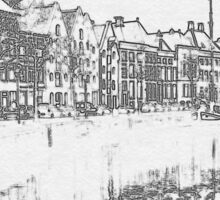a sketch of the city Groningen Sticker