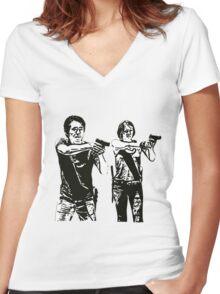 Glenn & Maggie Walking Dead Women's Fitted V-Neck T-Shirt