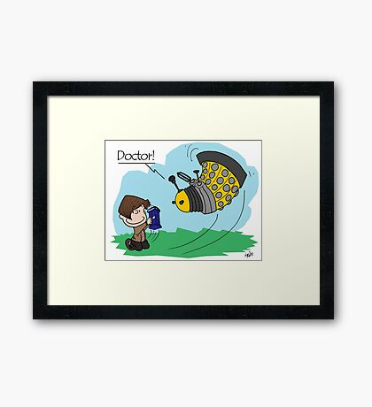 Eleventh Doctor vs a Dalek ... Peanuts Style Framed Print