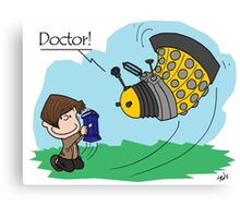 Eleventh Doctor vs a Dalek ... Peanuts Style Canvas Print