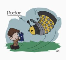 Eleventh Doctor vs a Dalek ... Peanuts Style by Robert Partridge