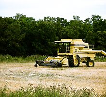 Old Yellow Combine 01 by mdkgraphics