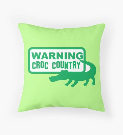 Warning CROC Country with green crocodile alligator Throw Pillow