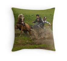 What happens when horses don't like water, Throw Pillow