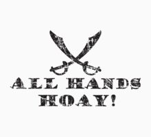 All Hands Hoay - Pirate Quote Vintage Black Kids Clothes