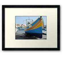 Striped Fishing Boat in Marsaxlokk Harbour Framed Print