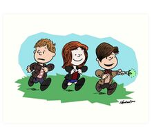 Eleventh Doctor and the Ponds ... Peanuts Style Art Print