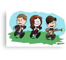 Eleventh Doctor and the Ponds ... Peanuts Style Canvas Print