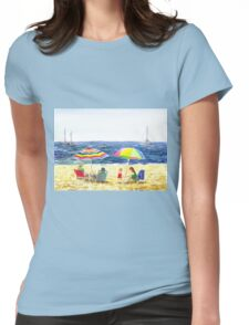 Two Umbrellas On The Beach California  Womens Fitted T-Shirt