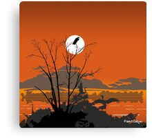 Abstract Florida Everglades Tropical Birds Orange Sunset Landscape Canvas Print