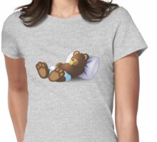 Sleeping Ted - Yellow Womens Fitted T-Shirt