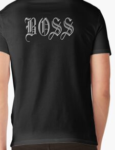 Boss, in Olde English! The BOSS, CEO, Chief, In Charge, On Black Mens V-Neck T-Shirt