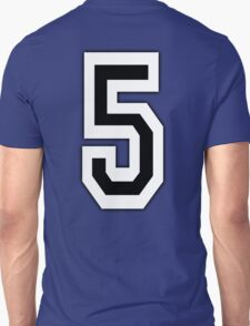5, TEAM SPORTS, NUMBER 5, FIFTH, FIVE, Competition, White on Black T-Shirt