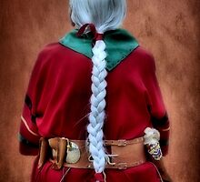 White Braided Hair, Red Dress by SuddenJim