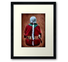 White Braided Hair, Red Dress Framed Print