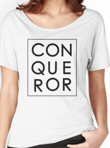More than Conquerors - Black on White Women's Relaxed Fit T-Shirt