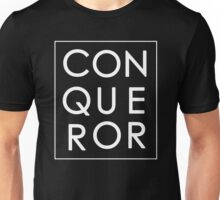 More than Conquerors - White on Black Unisex T-Shirt