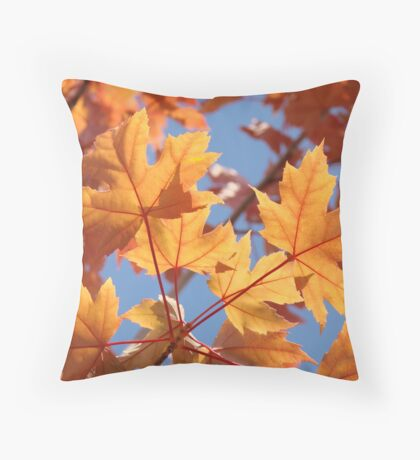 Autumn Leaves art prints Orange Glowing Leaf Blue Sky Baslee Throw Pillow