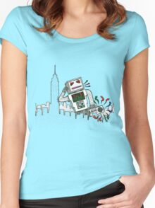 Robot Takes New York Women's Fitted Scoop T-Shirt