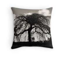 Old Tree in Black and White  Throw Pillow