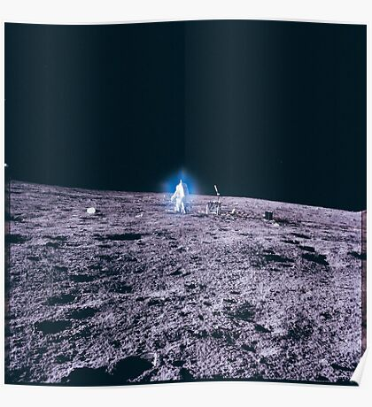 Apollo Archive 0037 Moon Astronaut on Lunar Surface Lens Artifact Poster
