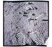 Apollo Archive 0086 Moon Color Telltale and Footprints on Lunar Surface Poster