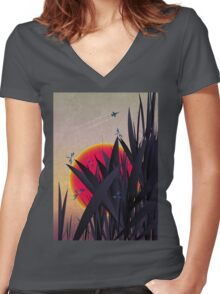 Red Heat (with Dragonflies) Women's Fitted V-Neck T-Shirt